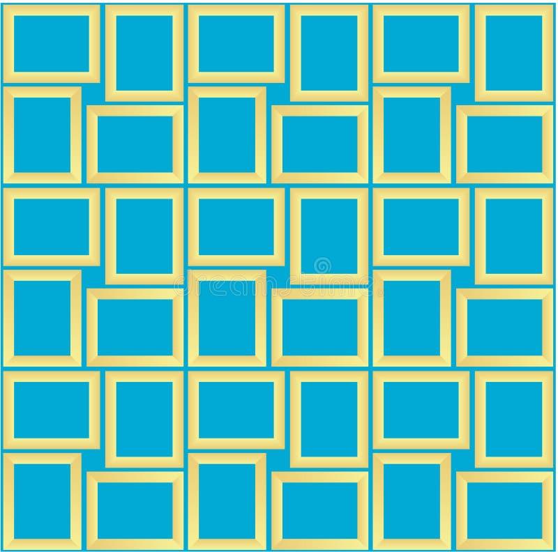 Abstracte naadloze patroontextuur van gouden rechthoekige kaders over hemel blauwe achtergrondmalplaatje Vectorillustratie royalty-vrije illustratie