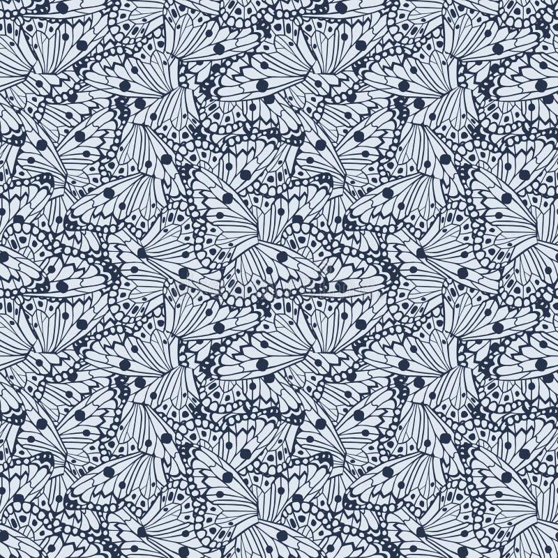 Abstracte naadloze vector blauwe de kleurenachtergrond van vlindersvleugels vector illustratie