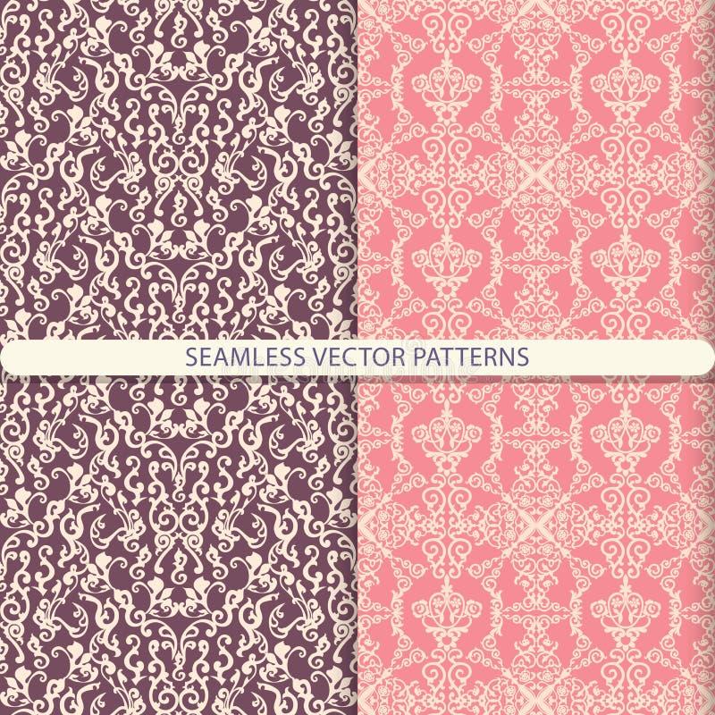 Abstracte naadloze vectorpatronen van ornamentelementen op een donkerrode en lichtrode achtergrond Druk voor textiel, verpakkend  vector illustratie
