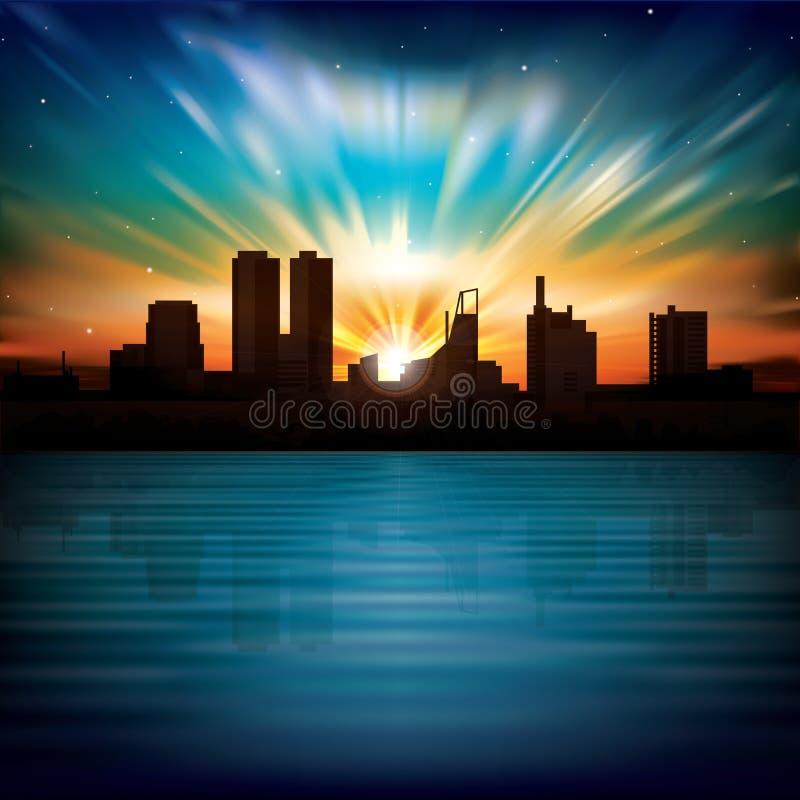 Abstracte nachtachtergrond met silhouet van stad