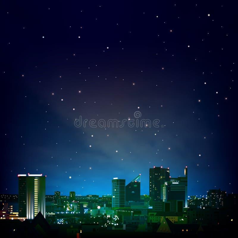 Abstracte nachtachtergrond met stad en sterren stock illustratie