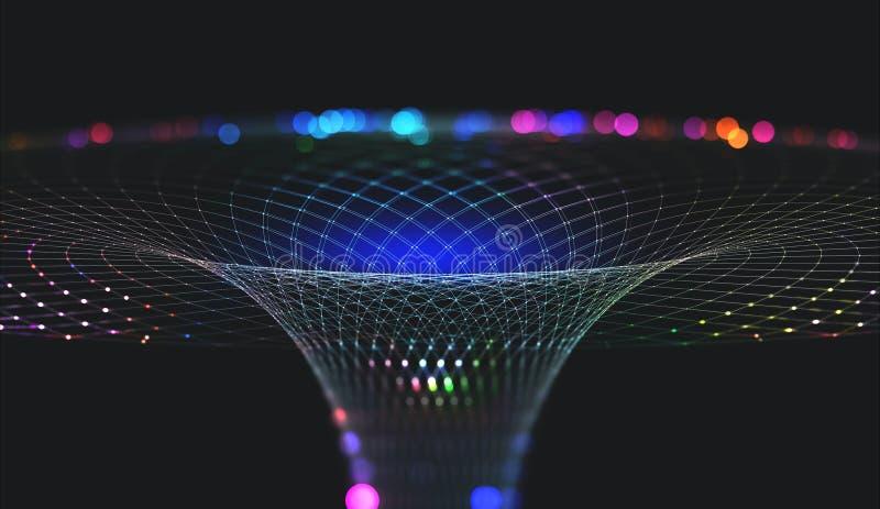 Abstracte nanostructure en technologieën van de toekomst Informatietrechter Mondiaal Net stock fotografie