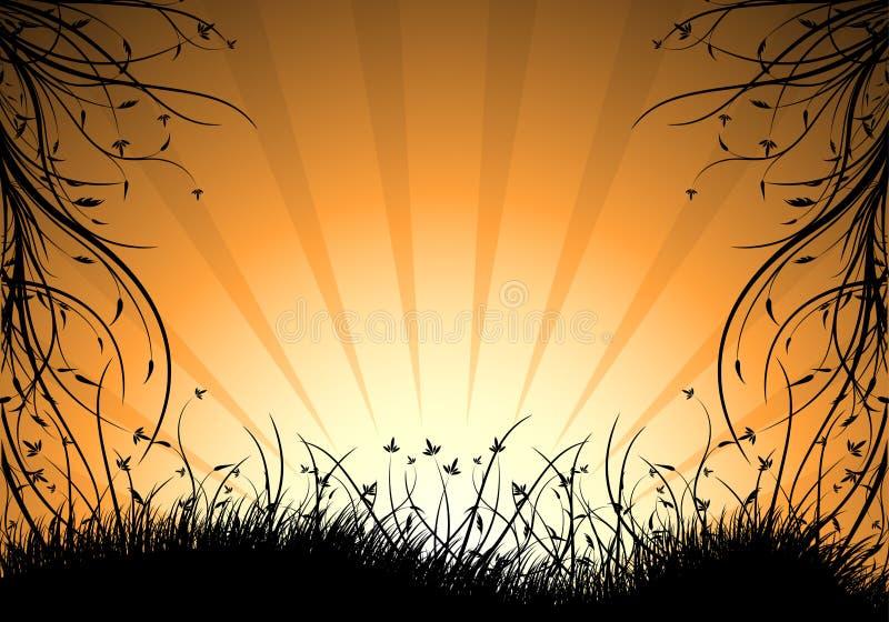 Abstracte natuurlijke decoratieve zonsondergang vectorillustratio als achtergrond stock illustratie