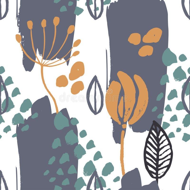 Abstracte natuurlijke naadloze patroon geïnspireerde die hand met borstel en inkt wordt getrokken stock illustratie