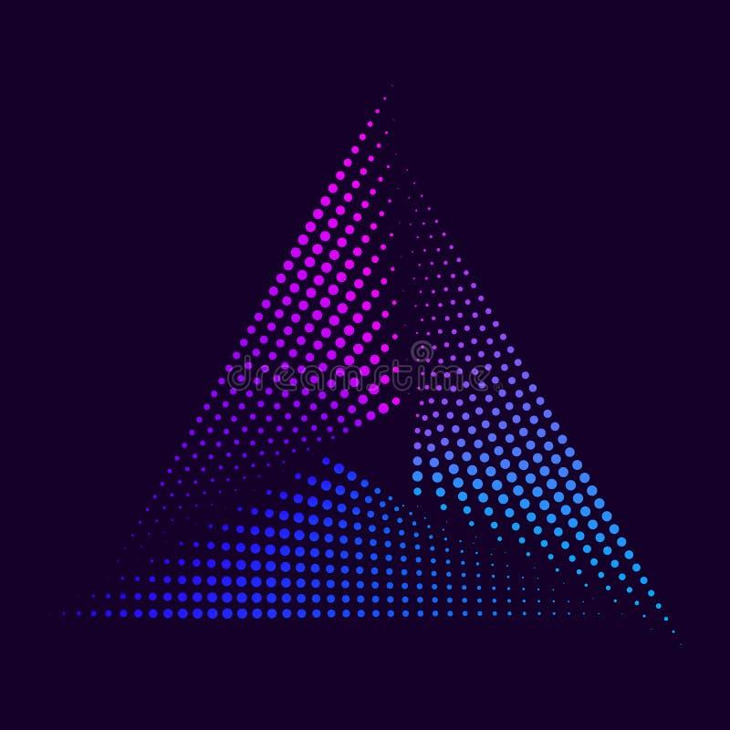 Abstracte Neondriehoek royalty-vrije stock afbeelding