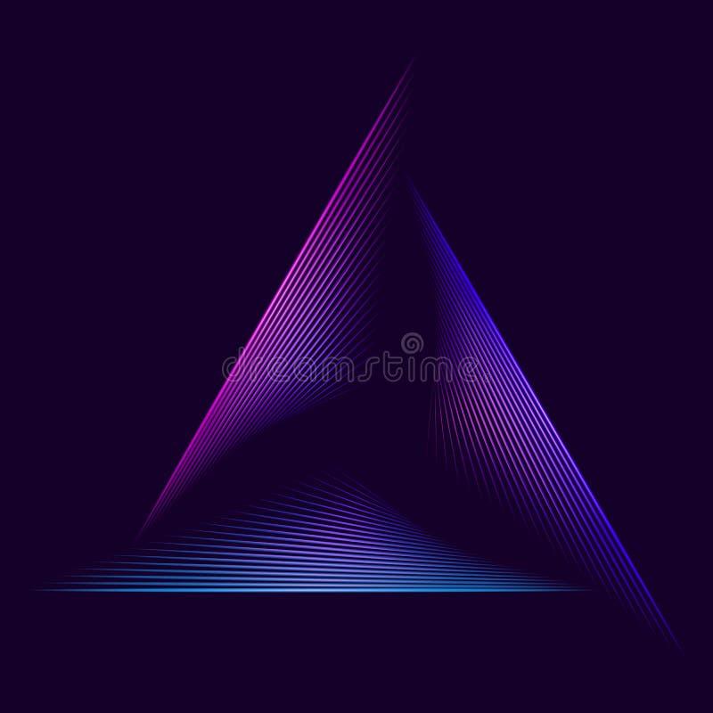 Abstracte Neondriehoek stock afbeelding