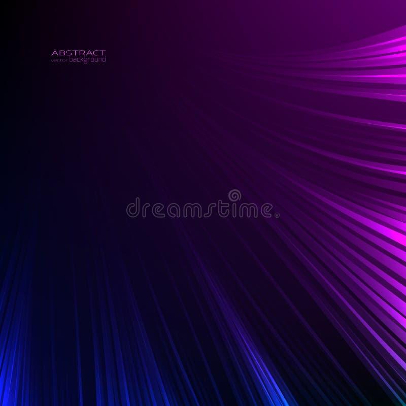 Abstracte neonlichten als achtergrond Blauwe purpere lijnen Het de straalspoor van de lichtenergiegloed schittert Digitale techno royalty-vrije illustratie