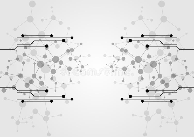 Abstracte netwerkverbinding met de achtergrond van de kringstechnologie vector illustratie