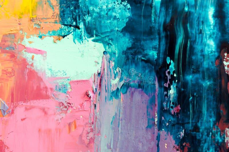Abstracte olieverfschilderijachtergrond Olie op canvastextuur Getrokken hand vector illustratie