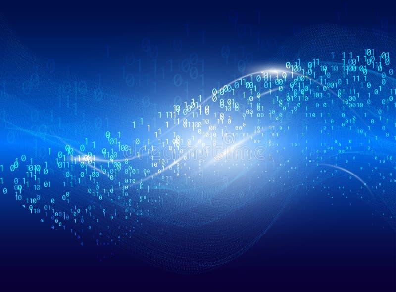 Abstracte omzettende virtuele ruimte Futuristische vectorillustratie van binaire codedeeltjes en neon gloeiende cyber golf royalty-vrije illustratie