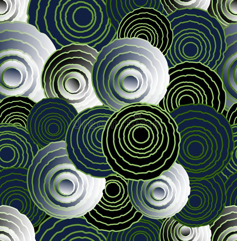 Abstracte ongelijke cirkelelementen in optische kunststijl, naadloze futuristische achtergrond, 3d effect illusie royalty-vrije illustratie
