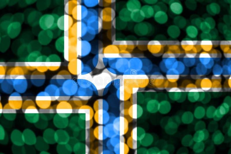 Abstracte onscherpe bokehvlag van Portland, Oregon Kerstmis, Nieuwjaar en de Nationale vlag van het dagconcept De Verenigde State stock illustratie
