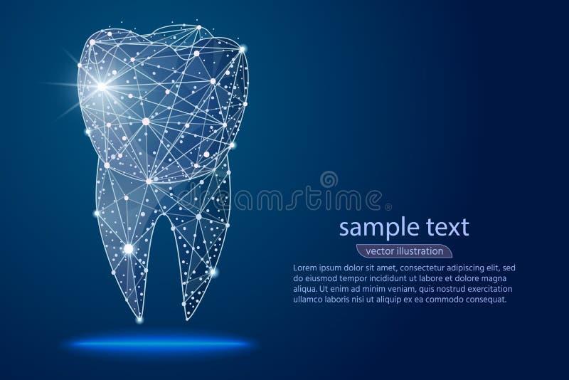 Abstracte ontwerp tand tandkliniek, embleem lage polywireframe De vector abstracte veelhoekige lijn en het punt van de beeldbrij stock illustratie