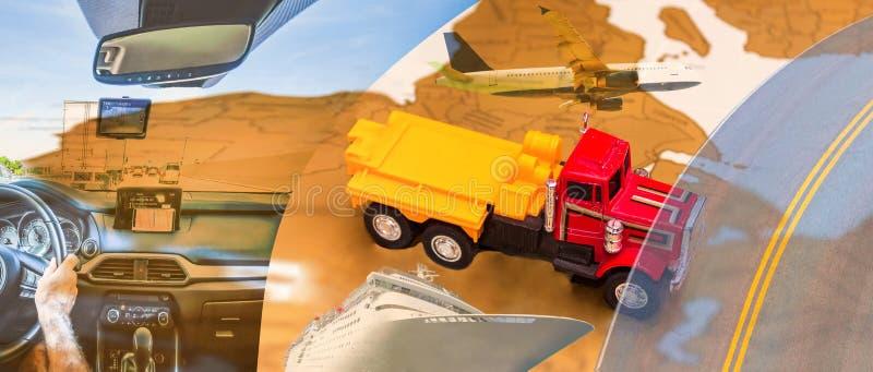 Abstracte ontwerpachtergrond Vrachtwagens en vervoer stock foto