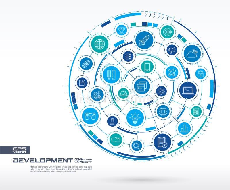 Abstracte ontwikkeling en programmeringsachtergrond Digitaal sluit systeem aan geïntegreerde cirkels, gloeiende dunne lijnpictogr royalty-vrije illustratie