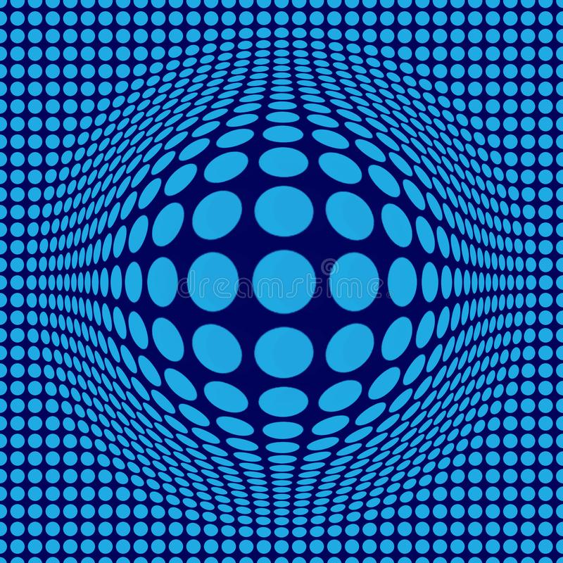 Abstracte Optische illusieop kunst met blauwe punten op donkerblauwe achtergrond vector illustratie