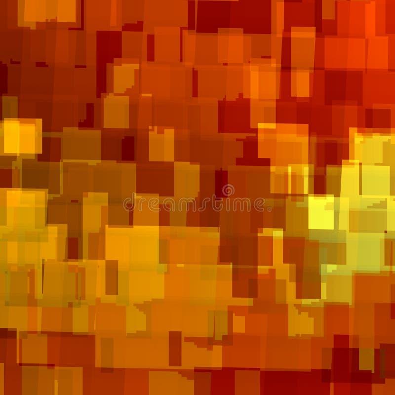 Abstracte Oranje Achtergrond voor Ontwerpkunstwerken - Behangpatroon - de Overlappende Illustratie die van het Vierkantenconcept  stock illustratie
