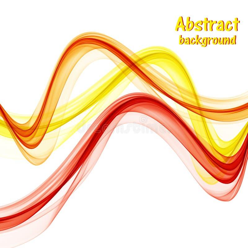 Abstracte oranje en gele en rode golven op witte achtergrond stock afbeelding