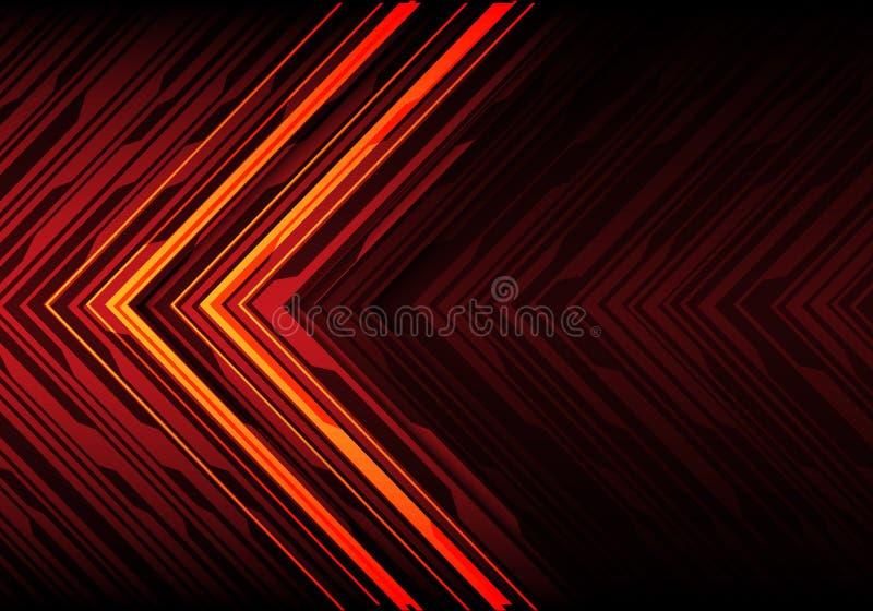 Abstracte oranje lichte zwarte lijnpijl op rode van de het ontwerp moderne technologie van de veelhoek futuristische richting vec royalty-vrije illustratie