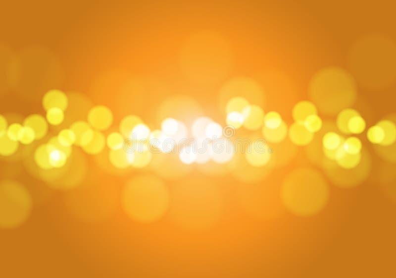 Abstracte oranjegele lichte van het bokehonduidelijke beeld vector als achtergrond vector illustratie