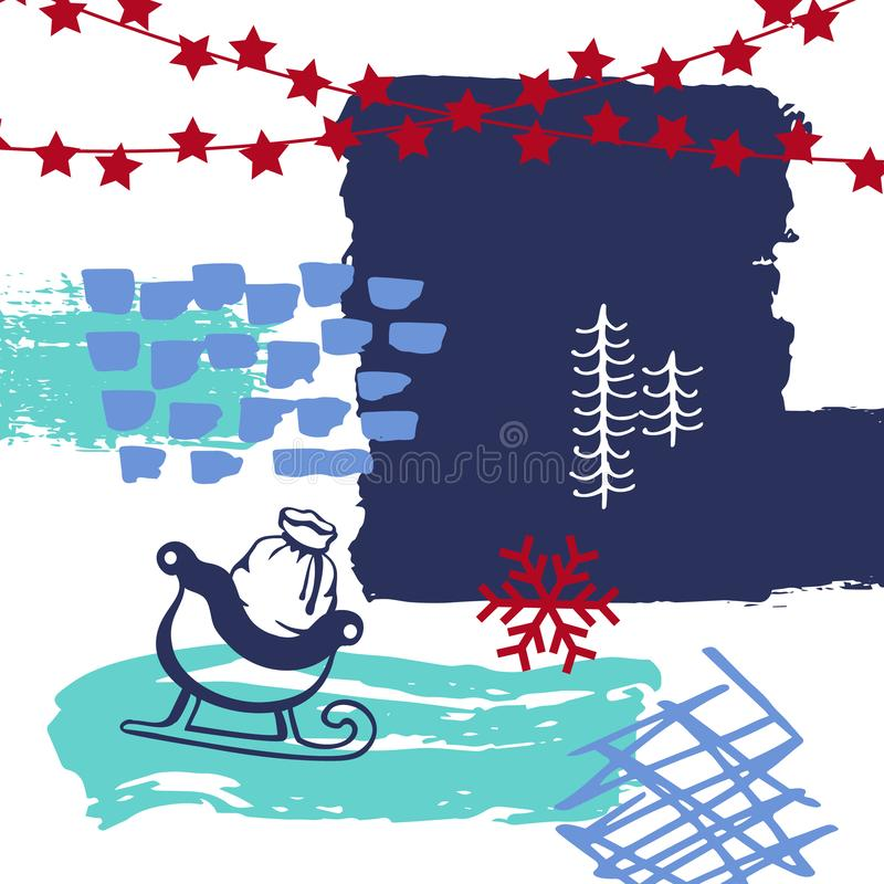 Abstracte originele Kerstmis, de kunst van de de verfborstel van de de wintertijd strijkt de kaart van de texturencollage vector illustratie