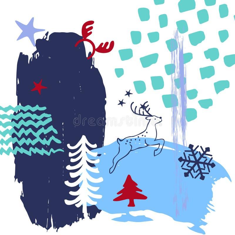 Abstracte originele Kerstmis, de kunst van de de verfborstel van de de wintertijd strijkt texturen en de geschetste het springen  vector illustratie