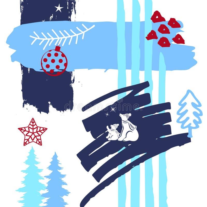 Abstracte originele Kerstmis, van de de verfborstel van de de wintertijd de texturen van de kunstslagen, schetste krabbels en pol vector illustratie