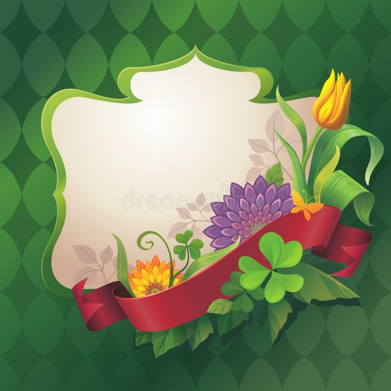 Abstracte overladen bloemenbanner met rode lintmarkering op groene achtergrond vector illustratie