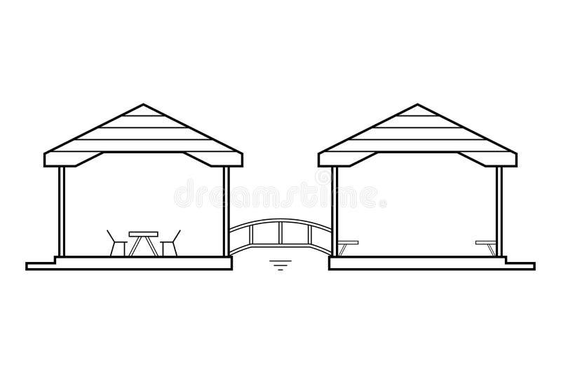 Abstracte overzichtstekening, twee verbonden huizen met houten brug vectorillustratie stock illustratie
