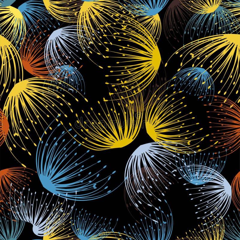 Abstracte paardebloem naadloos voor stoffenontwerp Vector Silhouet royalty-vrije illustratie