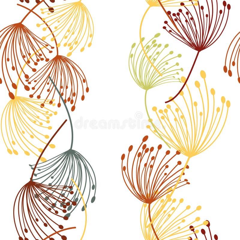 Abstracte paardebloem naadloos voor stoffenontwerp Vector Silhouet stock illustratie