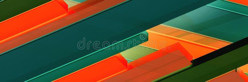 Abstracte panoramische achtergrond van multicolored strepen 3d 3d beeld, geeft terug vector illustratie