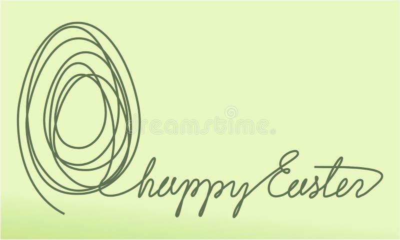 Abstracte Pasen-achtergrond met één ei van de lijntekening vector illustratie