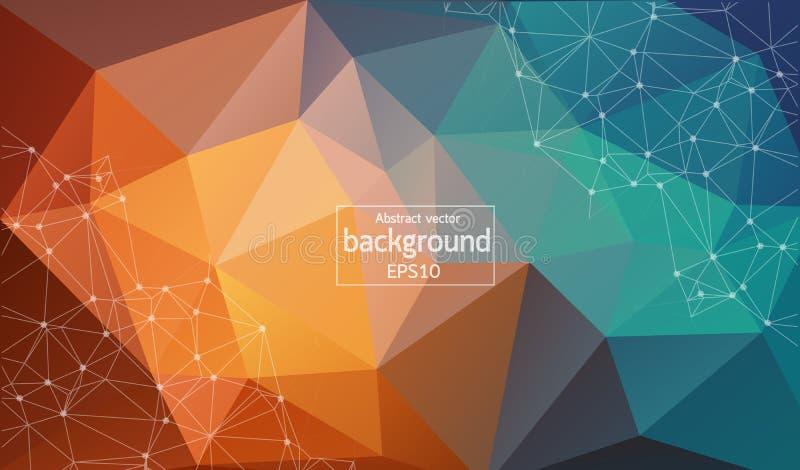 Abstracte pastelkleur Geometrische Veelhoekige molecule en mededeling als achtergrond Verbonden lijnen met punten Concept de wete royalty-vrije illustratie