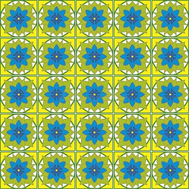 Abstracte patroon blauwe bloem vector illustratie