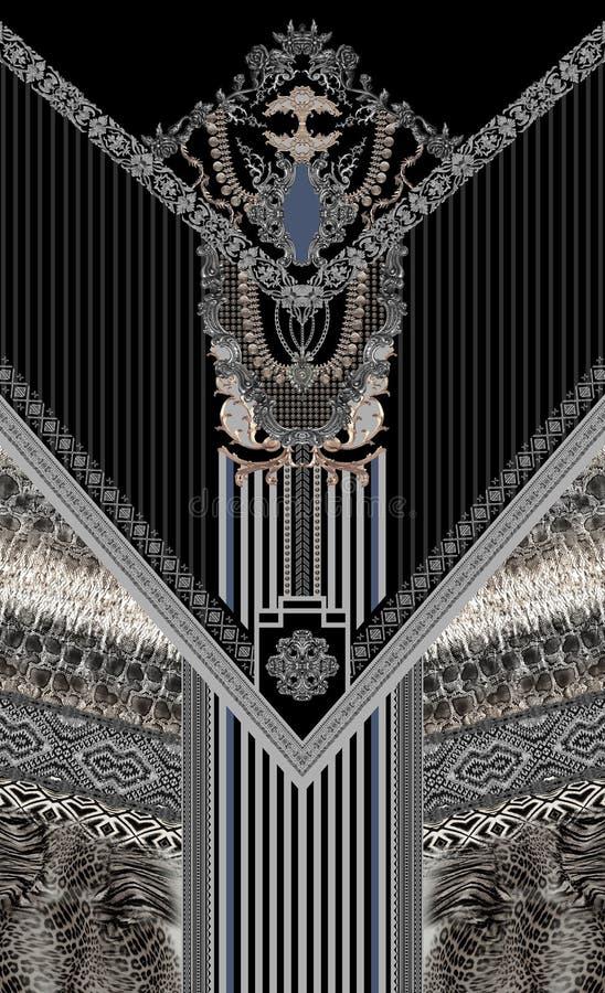Abstracte patroon van het juwelen het blauwe witte ontwerp royalty-vrije illustratie