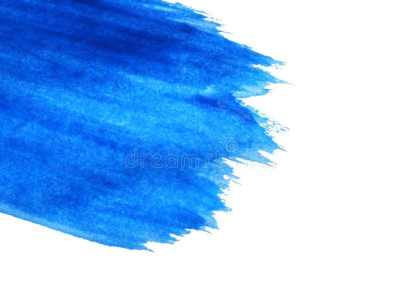 Abstracte penseelstreek van blauwe verf op wit Ruimte voor tekst stock foto's
