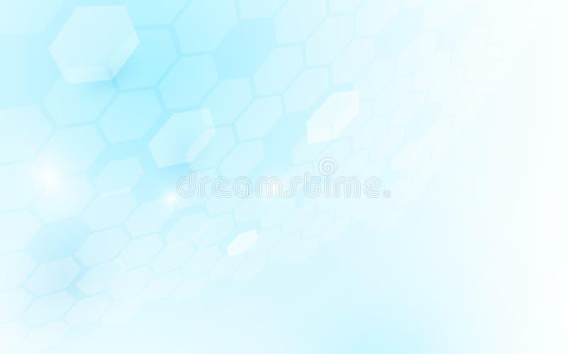 Abstracte perspectief hexagonale vorm op blauwe en witte achtergrond vector illustratie