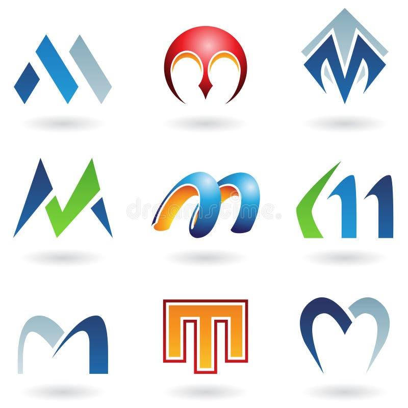 Abstracte pictogrammen voor brief M vector illustratie