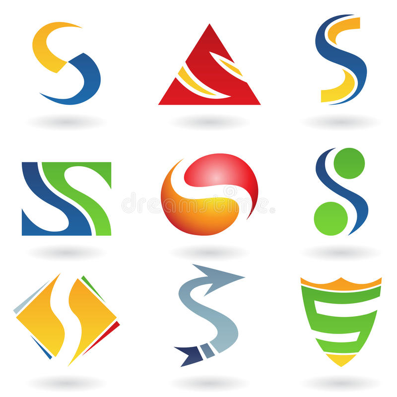 Abstracte pictogrammen voor brief S stock illustratie