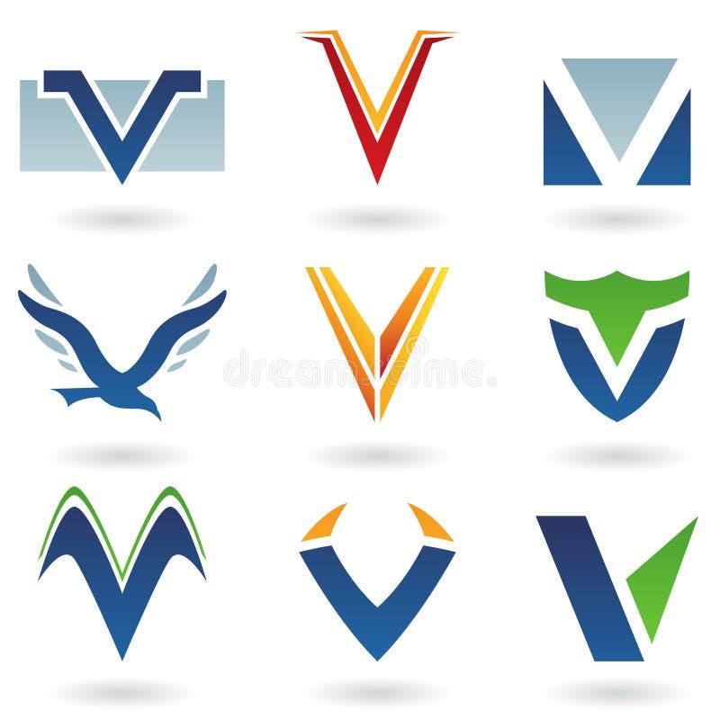 Abstracte pictogrammen voor brief V stock illustratie