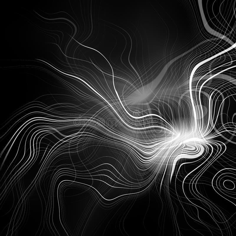 Abstracte plasmalossing als achtergrond Psychedelisch zwart-wit beeld royalty-vrije illustratie