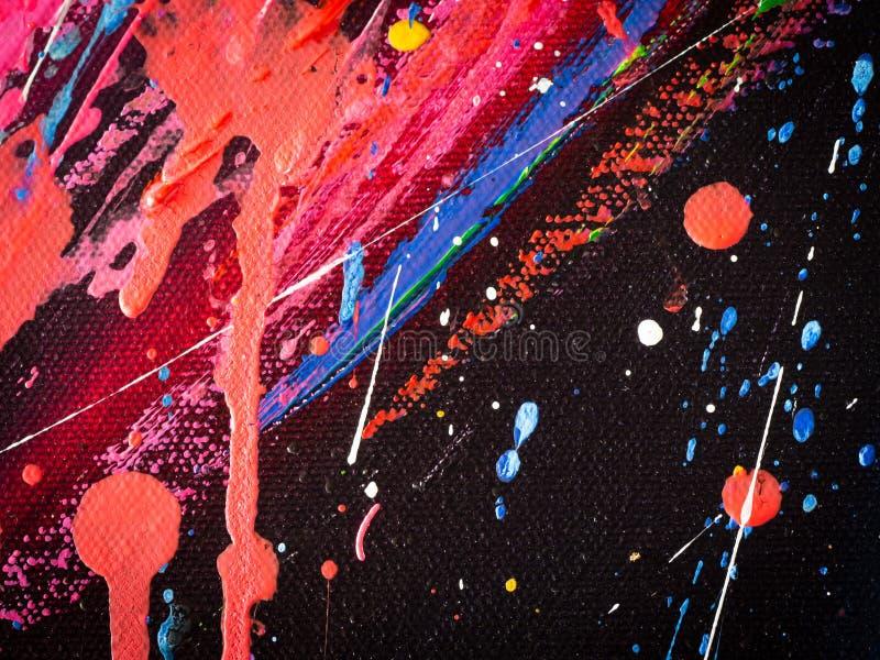 Abstracte plonsen die kleurentextuur schilderen De kleurrijke abstracte acrylkleur van de kunstolieverf op canvas voor achtergron stock afbeelding