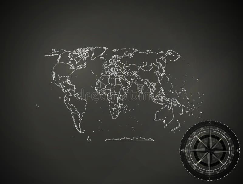 Abstracte politieke kaart als achtergrond van de techniek van het wereldpictogram royalty-vrije illustratie