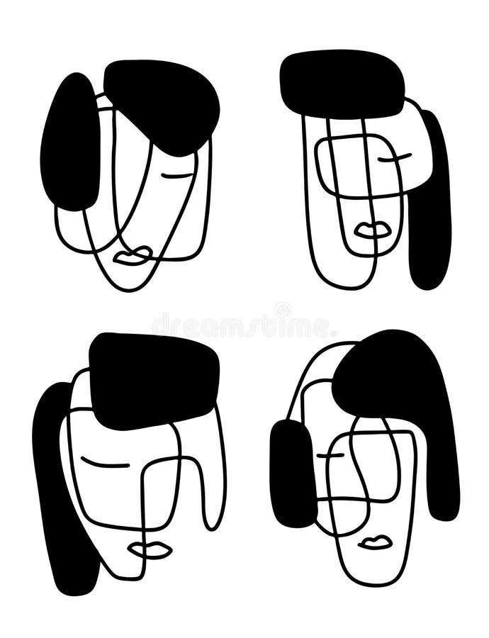 Abstracte portretten vectorillustratie Het art. van de Minimalisticlijn Elementen voor prentbriefkaaren, drukken, textiel of embl vector illustratie