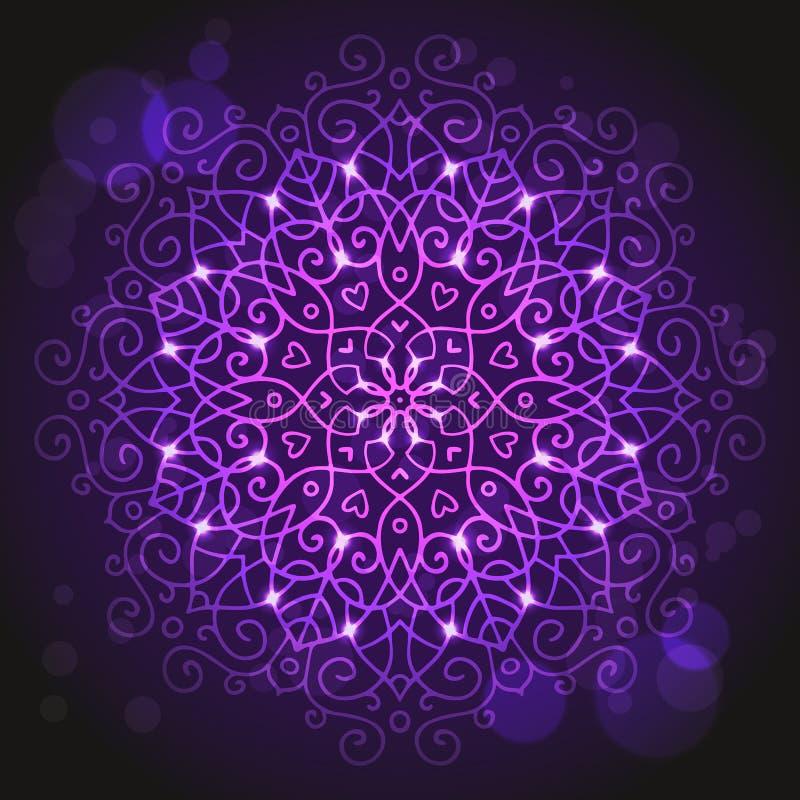 Abstracte purpere achtergrond met een rond mandalaornament vector illustratie