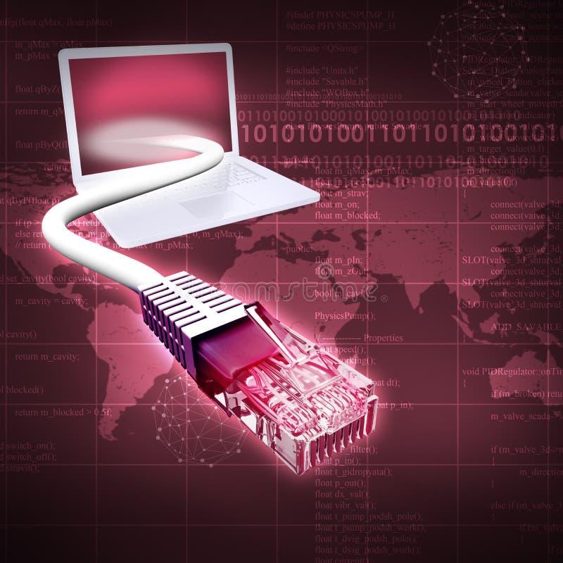 Abstracte purpere achtergrond met laptop royalty-vrije illustratie