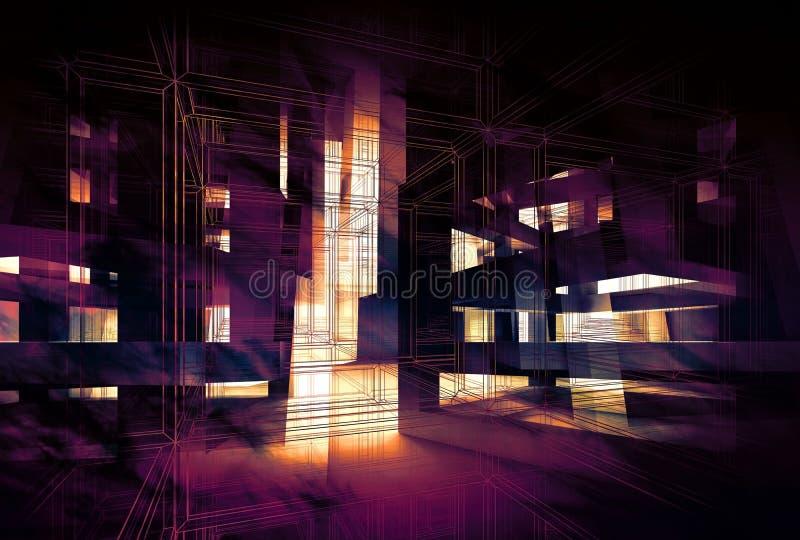 Abstracte purpere digitale 3d achtergrond, stock illustratie