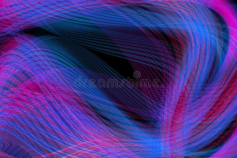 Abstracte purpere en blauwe lichte lijn op zwarte achtergrond stock illustratie