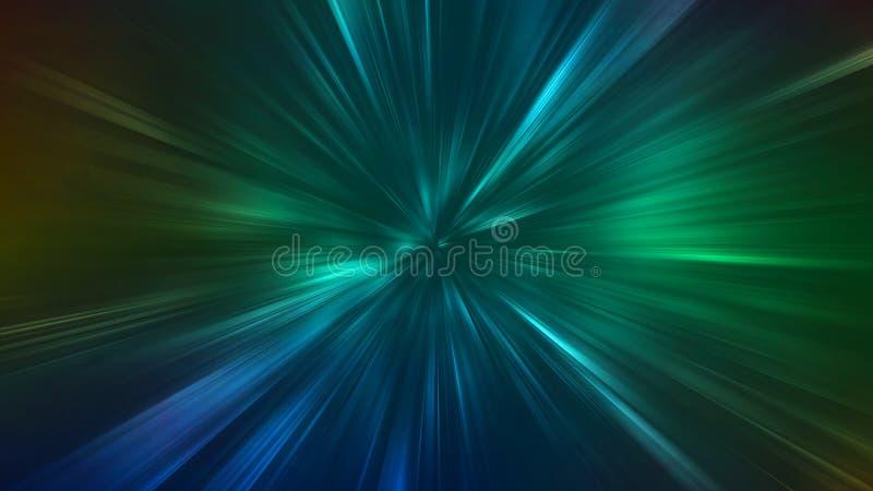 Abstracte radiale gezoemlijnen Groene en blauwe die de lichtenmotie van de contraststraal op donkere achtergrond is gebarsten royalty-vrije illustratie